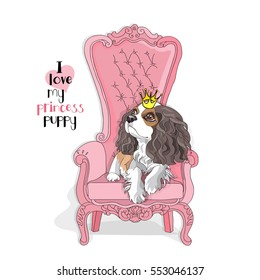 Cavalier King Charles Spaniel Puppy with a princess crown on a pink armchair. Vector illustration.