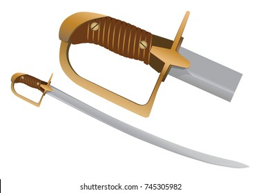 Cavalry saber sword from last century. Enlargement of weapon handle. Vector illustration on white background.