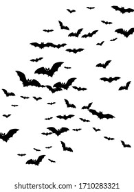 Cave black bats group isolated on white vector Halloween background. Flying fox night creatures illustration. Silhouettes of flying bats traditional Halloween symbols on white.