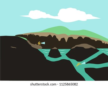 Cave divers explore a deep labyrinth chamber underground. Editable Clip Art.