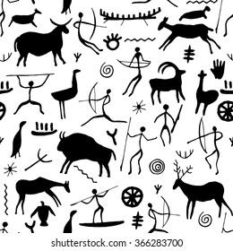 Cave drawing seamless pattern on white background