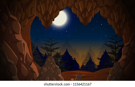 A cave entrance at night illustration