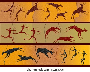 Cave figures of primitive people in a vector