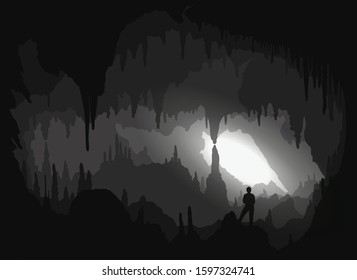 Cave. Inside a backlit cavity