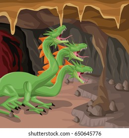 Cave interior background with hydra mythological creature