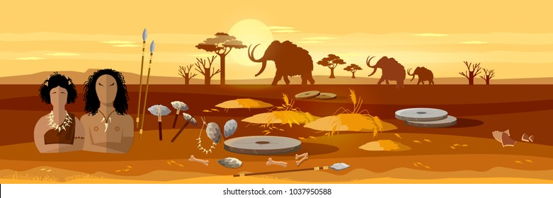 Cave man and cave woman banner. Neolithic, paleolith, mesolith, beginning of a civilization. Caveman art. Stone age, neanderthal family in a cave, prehistoric tool