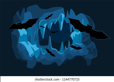 Cave at night with flying bats. Horizontal back. Vector.