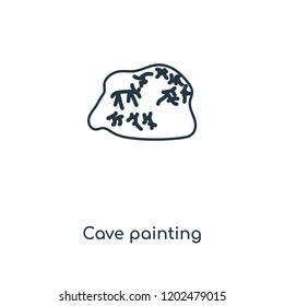 Cave painting concept line icon. Linear Cave painting concept outline symbol design. This simple element illustration can be used for web and mobile UI/UX.