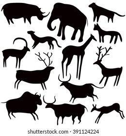 Cave painting, stylized animals silhouettes, rock art. Vector set on white background.