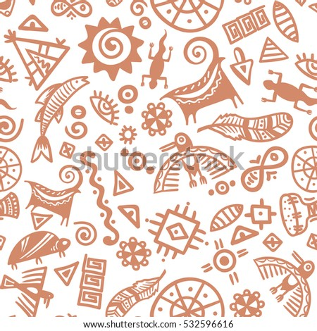 Cave Painting Tribal Ethnic Symbols Seamless Stock Vector Royalty