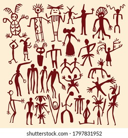 cave painting vector human and people