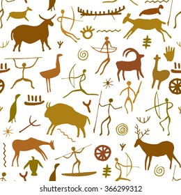 Cave paintings seamless pattern. Petroglyphs background