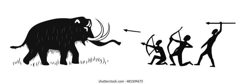 Cave paintings of tribal people hunting for woolly mammoth