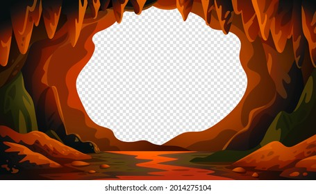 Cave vector background, cartoon cave landscape with a blank center for text Vector illustration in flat cartoon style