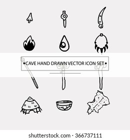 Cave vector icons set. Ice age. Historical elements.