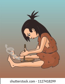 cave woman making fire, vector cartoon illustration of stone age technology