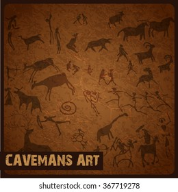 Caveman art vector background illustration for business template, presentation, card, pattern or banner.