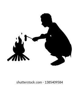 Caveman with bonfire silhouette vector