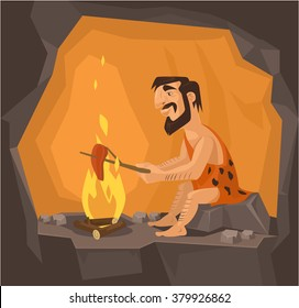 Caveman is cooking in cave. Vector flat illustration