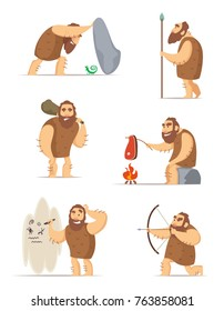 Caveman and different action poses. Character ancient people, prehistoric primitive neanderthal. Vector illustration