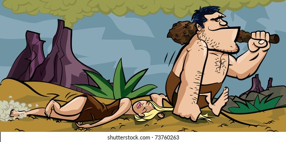 Caveman dragging his woman by her hair. He holds a club and they are in a prehistoric setting