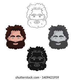 Caveman face icon in cartoon,black style isolated on white background. Stone age symbol stock vector illustration.