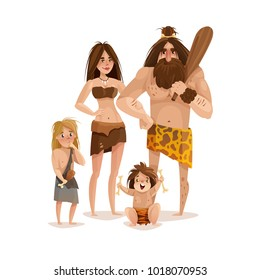 Caveman family design concept with mother father and two little kids dressed in animal skin cartoon vector illustration
