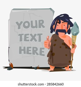 caveman with huge stone to replace your text. stone age concept - vector illustration