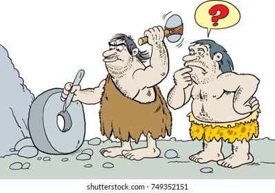 caveman inventing the wheel