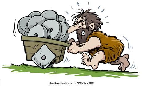 Caveman pushing square cart