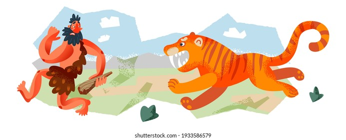 Caveman running from tiger in Stone Age set. Prehistoric ancient history vector illustration. Man running away from scary animal at hunt with stick. Savage hunter in nature.