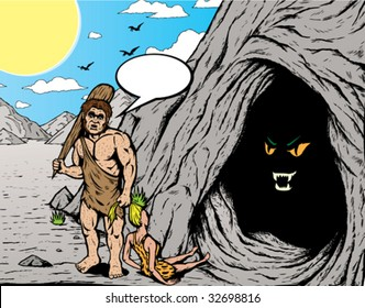 Caveman. With vector, Caveman, girl, ponytail, bubble and shadows are all on separate layers and can be easily removed.