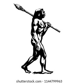 Caveman walking with stone spear. Black and white sketch of Neanderthal. Vector illustration of primitive man isolated on white background.
