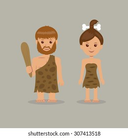 Cavemen. The characters of men and women in prehistoric outfits.