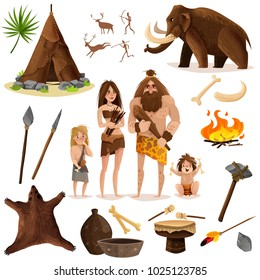 Cavemen decorative icons set with hut weapon for hunting mammoth bonfire cartoon signs isolated vector illustration