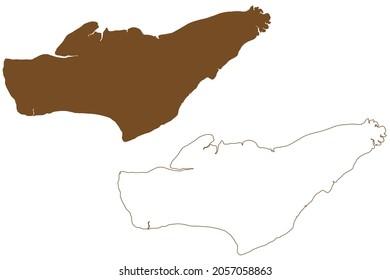 Caviana island (Federative Republic of Brazil, South and Latin America, Amazon River, Marajo Archipelago) map vector illustration, scribble sketch Ilha Caviana Meridional map