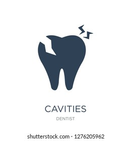 cavities icon vector on white background, cavities trendy filled icons from Dentist collection, cavities vector illustration