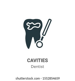 Cavities vector icon on white background. Flat vector cavities icon symbol sign from modern dentist collection for mobile concept and web apps design.