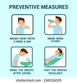Cavity Disease Preventive Measures Info Poster. Healthy Man Cartoon Character. Brush Teeth, Drink Fluids, Rinse Mouth, Checkup Regularly. Dentist Advice, Dental Health Rules. Stomatology Vector Banner