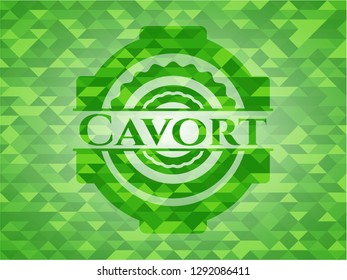 Cavort green emblem with mosaic background