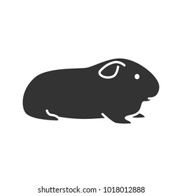 Cavy glyph icon. Domestic guinea pig. Silhouette symbol. Negative space. Vector isolated illustration