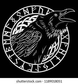 Cawing black crows, in a circle of Scandinavian runes, carved into stone, isolated on black, vector illustration