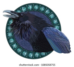 Cawing black crows, in a circle of shining Scandinavian runes, carved into stone, isolated on white, vector illustration