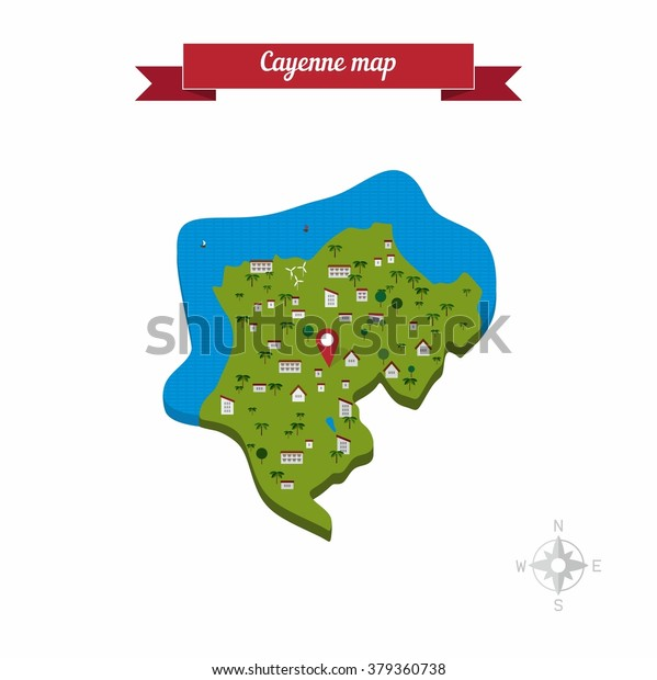 Cayenne French Guiana Map Flat Style Stock Vector (Royalty Free