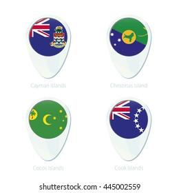 Cayman Islands, Christmas Island, Cocos Islands, Cook Islands flag location map pin icon. Vector Illustration.