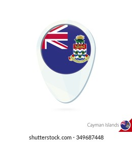 Cayman Islands flag location map pin icon on white background. Vector Illustration.