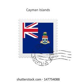 Cayman Islands Flag Postage Stamp on white background. Vector illustration.