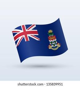 Cayman Islands flag waving form on gray background. Vector illustration.