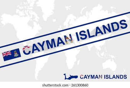 Cayman Islands map flag and text illustration, on world map