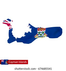 Cayman Islands map with waving flag of country. Vector illustration.